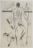 figure study after vesalius [back with plumb-bob] by jacob lawrence